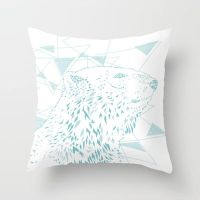 Geometric Polar Bear Throw Pillow / Cover by crystaland