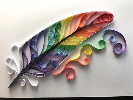 Rainbow Feather Paper Quilling by Toriroz