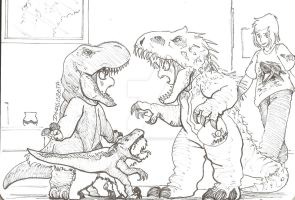 Jurasic world costumes confrontation by dcrisisbeta