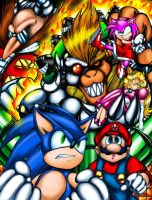 Sonic and Mario Team Up-B by StriderSyd