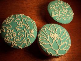 Blue Cupcakes - Floral by eckabeck