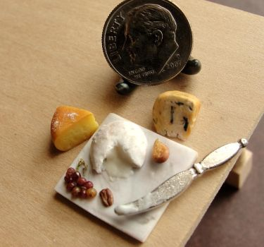 1:12 Scale Cheese and Grapes by fairchildart