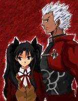 Rin Tohsaka and Archer by methcooker
