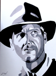Indiana Jones Ink Drawing by AnthonyParenti