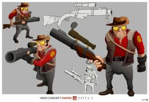 DOTA2/TF2 Sniper Crossover by Paeregrine