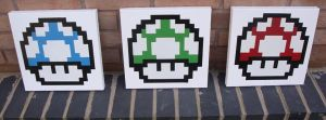 Mario Mushrooms Stencil and Spray Paint on Canvas by RAMART79
