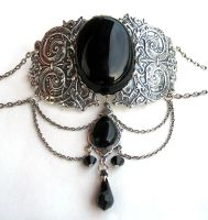Silver and Onyx Choker by Aranwen