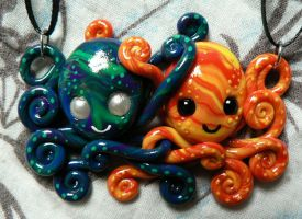 Warm and Cool Octopi Buddies by BlackMagdalena