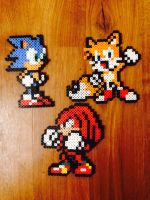 Sonic, Tails, and Knuckles by JSPerlers
