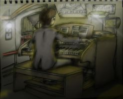 Dr. Vinson on the Grand hall organ -color- by ownerfate