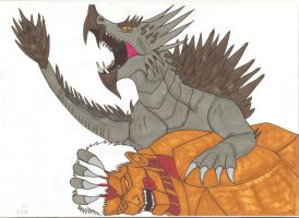 Attack on Titan - Anguirus vs Armored Titan by Tyrannuss555