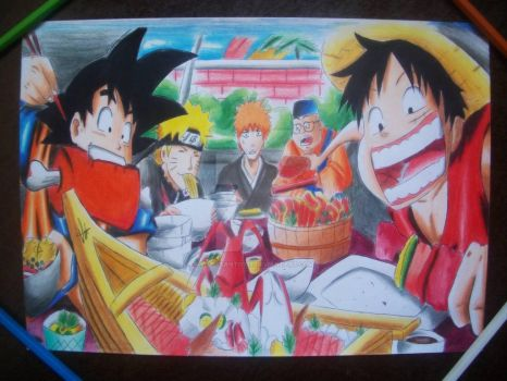 Goku , naruto , ichigo and luffy by vitorsantos18