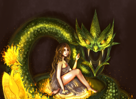 A girl, a bird, and a snake by Nadao
