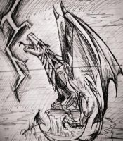 Obsidian Dragon sketch up by AussieDragoness