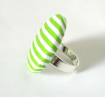 Big green ring white stripes adjustable bright by KooKooCraft