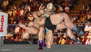 Sandy wrestles with a heavyweight wrestler 65 by eurysthee