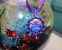 Octopus bottle cap necklace with original art by SuperFlashDance