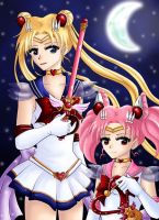 Sailor Moon and Chibi Moon by CelestialRayna