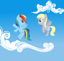 Flyin' with Dash and Derpy by dragonpony