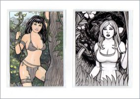 Bettie Page + Nevermore Alice AP Cards by rplatt