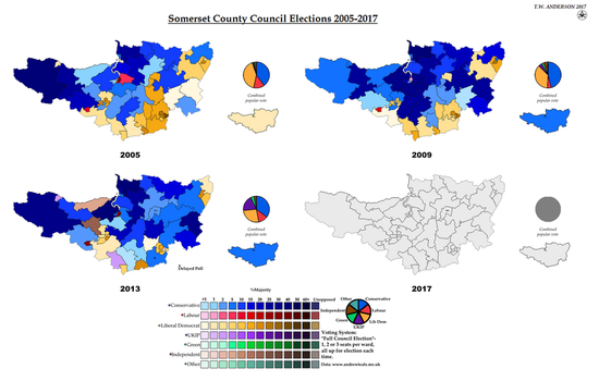 Somerset County Council Elections 2005-2017 by AJRElectionMaps