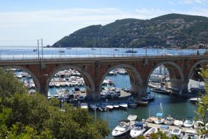 Bridge of railroad and harbor of THEOULE SUR MER by A1Z2E3R