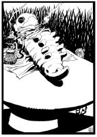 Alice and the Caterpillar bw by deankotz