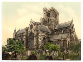 Vintage Cathedral Postcard by HauntingVisionsStock