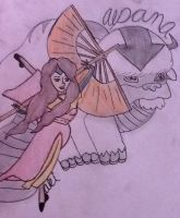 My avatar oc Aki and her sky bison Alpana by littleredridinghood4
