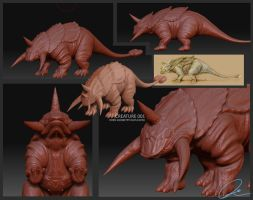 Armored Creature Model Zbrush by cgmodeler