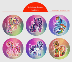 Rainbow Power Buttons Set by MadBlackie