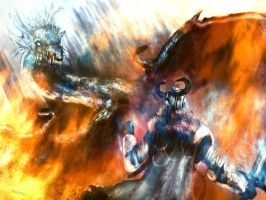 guild wars 2 fanart: Dragon vs guardian by Nahelus