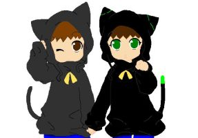 Kitty Twins :D by chibivampire1997