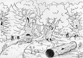 Forest entrance-concept sketch by Verine