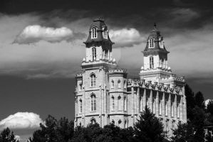 Manti Temple Black and White by houstonryan