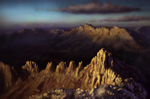 Mountain sky vista landscape by Hominid-9