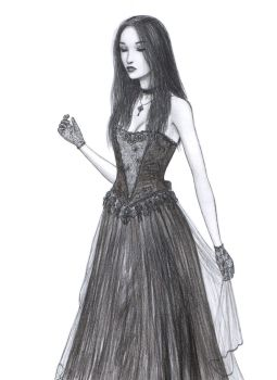 Gothic Girl with Lace Gloves by dashinvaine