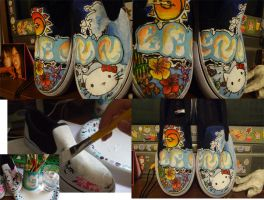 graffitiiflowerkitty vans by Piranis