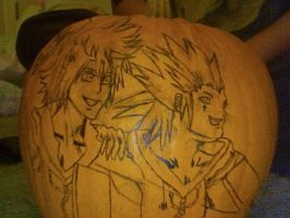 Roxas and Axel hand drawn on a pumpken by kingdomheartsoul