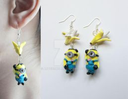 Polymer Clay Minion Earrings by ArtzieRush