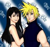 Cloud and Tifa coloured by razzmatazztwink