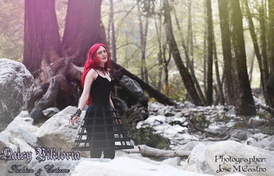 Gothic Fashion in the Forest by DaisyViktoria