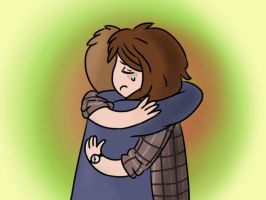 Sam and Dean hugging by happymia13