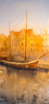 'Golden Light' - watercolour painting of Luebeck by dnessArt