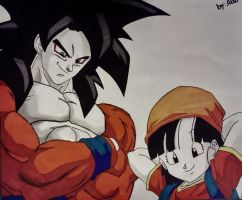 Goku SSJ4 and  Pan by WatersDBZArt
