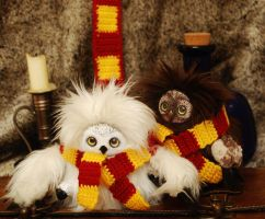 Hedwig Potter and Errol Weasley (OOAK art doll) by tamarayukawa