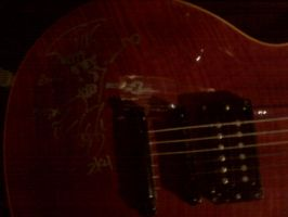 Guitar autographed by Slash by Selenalunarox