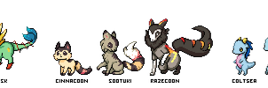 Fakemon starter line-up by world-dominashunXD