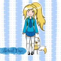 School time Fionna and Cake by veronica1134