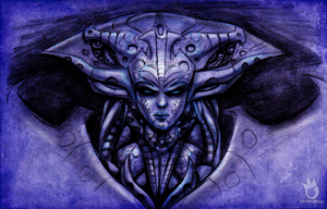 HR Giger Lissandra pencils by sykoeent